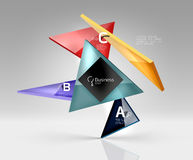 Vector glass triangles composition on grey 3d background. Abstract background for workflow layout, diagram, number options or web design Stock Photo