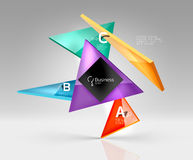 Vector glass triangles composition on grey 3d background Royalty Free Stock Photos