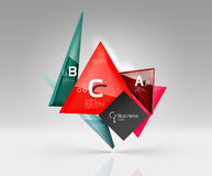 Vector glass triangles composition on grey 3d background Stock Photos