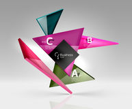 Vector glass triangles composition on grey 3d background Stock Photography