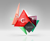 Vector glass triangles composition on grey 3d background Royalty Free Stock Photo