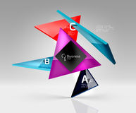 Vector glass triangles composition on grey 3d background. Abstract background for workflow layout, diagram, number options or web design Stock Photos