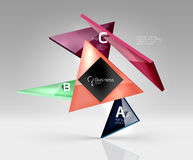Vector glass triangles composition on grey 3d background. Abstract background for workflow layout, diagram, number options or web design Stock Image