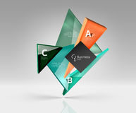 Vector glass triangles composition on grey 3d background. Abstract background for workflow layout, diagram, number options or web design Royalty Free Stock Photo