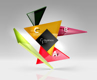 Vector glass triangles composition on grey 3d background. Abstract background for workflow layout, diagram, number options or web design Stock Images