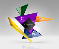 Vector glass triangles composition on grey 3d background. Abstract background for workflow layout, diagram, number options or web design Stock Photography