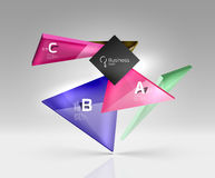 Vector glass triangles composition on grey 3d background. Abstract background for workflow layout, diagram, number options or web design Royalty Free Stock Image