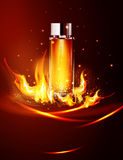 Vector glass vial on a dark background in flames and smoke.Eleme. Nt for modern design, advertising for sales, template cosmetic, perfume.  Realistic 3d Stock Photo