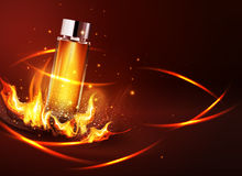 Vector glass vial on a dark background in flames and smoke.Eleme. Nt for modern design, advertising for sales, template cosmetic, perfume.  Realistic 3d Royalty Free Stock Photos