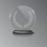 Glass winner podium plate with laurel wreath and mirror reflection on transparent background. Vector illustration. Royalty Free Stock Photo