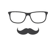 Vector glasses and mustache icon in black over white. Hipster elements illustration Royalty Free Stock Photo