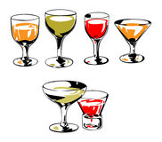 Vector glasses set. In retro style Royalty Free Stock Image