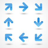 Vector glassy blue arrow web icon button. Royalty Free Stock Photos