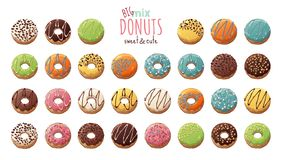 Vector. Glazed Donuts Decorated With Toppings, Chocolate, Nuts Stock Images