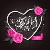 Vector glückliche Valentinsgrußtagesbeschriftung mit Herz geformtem Rahmen, rosafarben und Fahne Lizenzfreies Stockbild