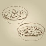 Vector gli aperitivi freddi di schizzo disegnato a mano dell'alimento, minestra Immagine Stock Libera da Diritti