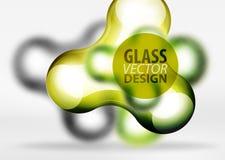 Vector gli effetti di vetro e metallici digitali della bolla dello spazio 3d, Immagine Stock
