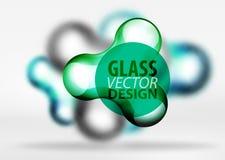 Vector gli effetti di vetro e metallici digitali della bolla dello spazio 3d, Fotografie Stock