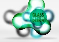 Vector gli effetti di vetro e metallici digitali della bolla dello spazio 3d, Fotografia Stock
