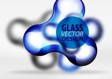 Vector gli effetti di vetro e metallici digitali della bolla dello spazio 3d, Immagini Stock