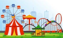 Vector gli elementi del parco di divertimenti dell'illustrazione sul fondo moderno della città Il resto della famiglia nei giri p illustrazione vettoriale