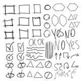 Vector gli elementi dell'evidenziatore, imitazione dei cerchi disegnati a mano Immagine Stock