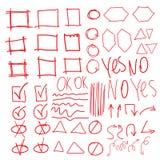 Vector gli elementi dell'evidenziatore, imitazione dei cerchi disegnati a mano Immagine Stock Libera da Diritti
