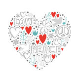 Vector gli elementi di scarabocchio sul tema di pace e di amore nella forma del cuore illustrazione di stock