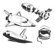 Vector gli elementi per spazio d'annata, le etichette dell'astronauta e gli emblemi illustrazione di stock