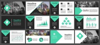 Vector gli elementi verdi e neri per i modelli della presentazione di infographics Fotografia Stock Libera da Diritti