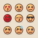 Vector gli emoticon di kawaii di stile dell'illustrazione con le varie emozioni su un fondo leggero illustrazione di stock