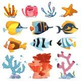 Vector gli oggetti della decorazione dell'acquario del fumetto - le piante subacquee, pesce luminoso royalty illustrazione gratis