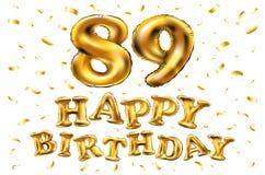 Vector gli ottantanovesimi palloni dell'oro della celebrazione di buon compleanno e gli scintilli dorati dei coriandoli progettaz Immagine Stock Libera da Diritti
