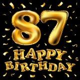 Vector gli ottantasettesimi palloni dell'oro della celebrazione di buon compleanno e gli scintilli dorati dei coriandoli progetta Immagine Stock Libera da Diritti