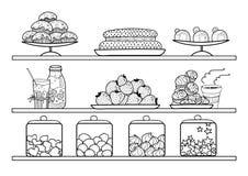 Vector gli scaffali in bianco e nero con i piatti, i dolci, i dolci e le pasticcerie nel negozio di pasticceria fotografia stock