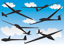 Vector gliders outlines set Stock Images
