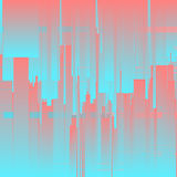 Vector glitch background. Futuristic city, abstract skyscrapers. Digital image data distortion. Chaos aesthetics of signal error. Digital decay. Colorful stock illustration