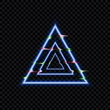 Vector Glitch Effect, Glowing Distorted Triangles, Neon Icon Template Isolated. royalty free illustration