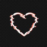 Vector Glitch Effect Heart Isolated on Dark Transparent Background. stock illustration