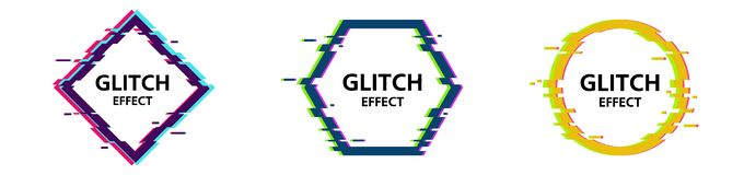Vector glitch frames set. Geometric shapes with Tv distortion effect. royalty free illustration