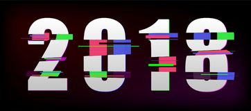 2018 Glitch New Year Banner royalty free illustration