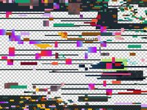Vector glitch noise texture isolated. Glitched computer screen. Television signal decay. Noise, screen defect failure digital illustration Royalty Free Stock Photos