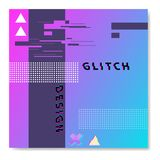 Vector glitch templates for placards, banners, flyers, presentations. Colorful neon design Stock Image