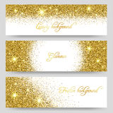 Vector glitter banners. Glittering greeting card design Stock Photography