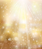 Vector glitter golden background with rays and lig Royalty Free Stock Image