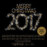 Vector glitter Merry Christmas 2017 greeting card Royalty Free Stock Image