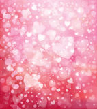 Vector glitter pink background with hearts. Stock Photos