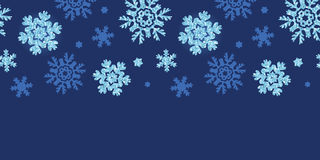 Vector glitter snowflakes dark horizontal border Royalty Free Stock Images