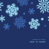 Vector glitter snowflakes dark horizontal frame Stock Image