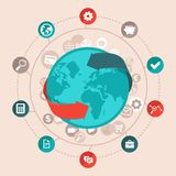 Vector global business concept in flat style stock illustration